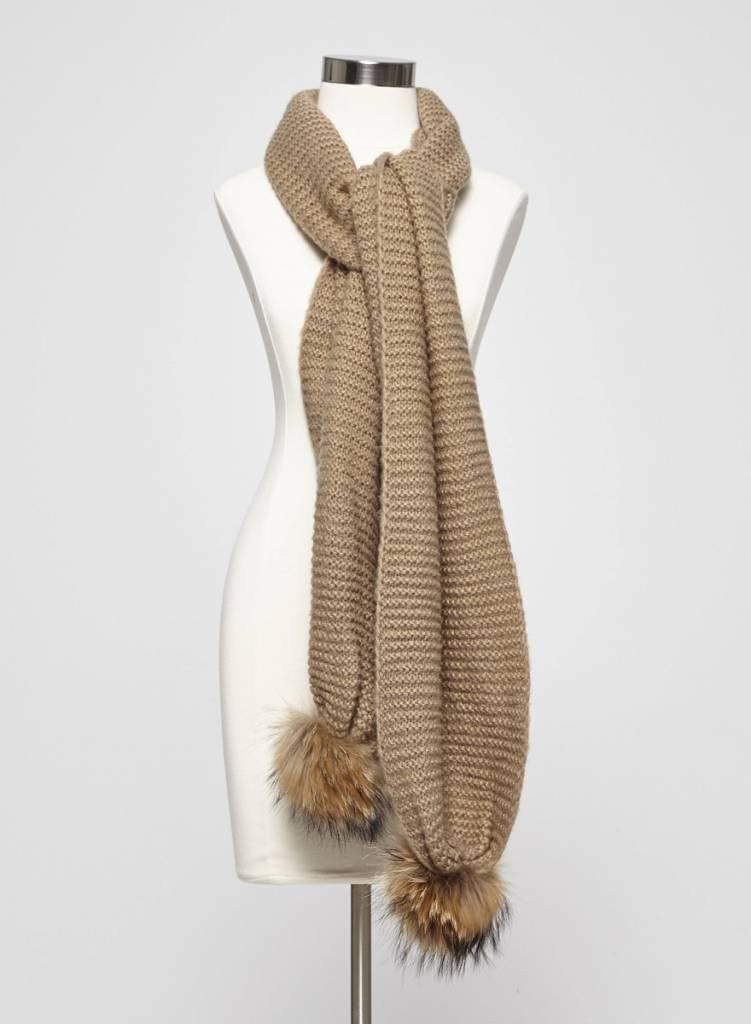 Rudsak Foulard beige en tricot et fourrure
