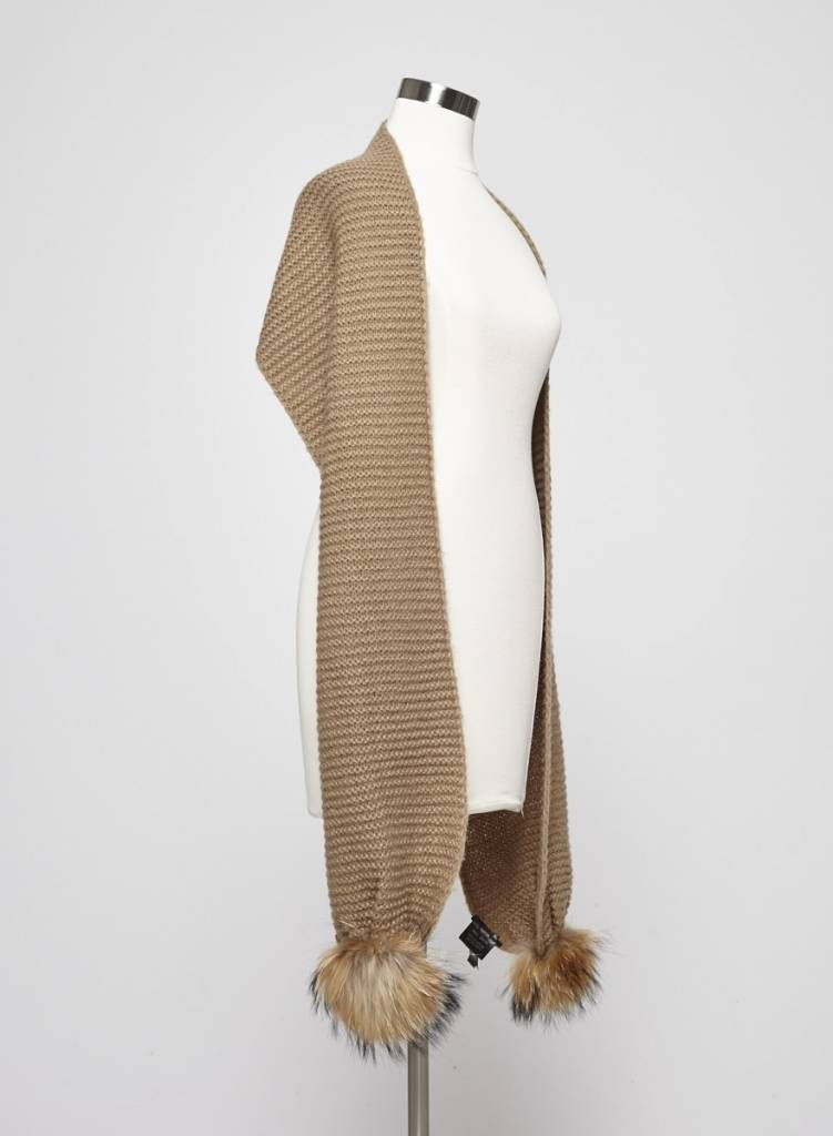 Rudsak Beige knitted Scarf with Fur