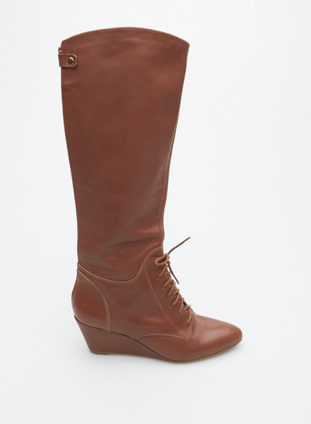 Cynthia Vincent BROWN LACE-UP LEATHER KNEE-HIGH BOOTS