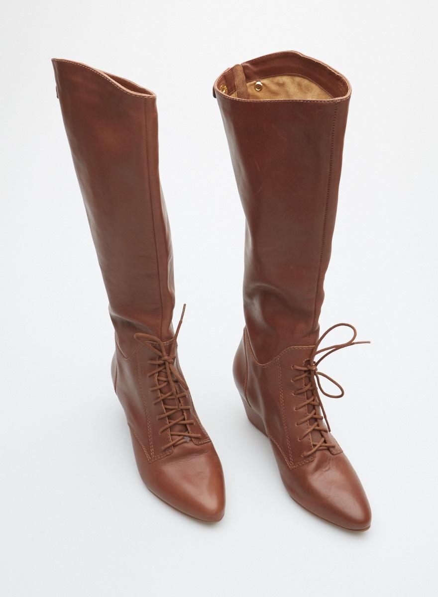 Cynthia Vincent Bottes en cuir brunes à lacets