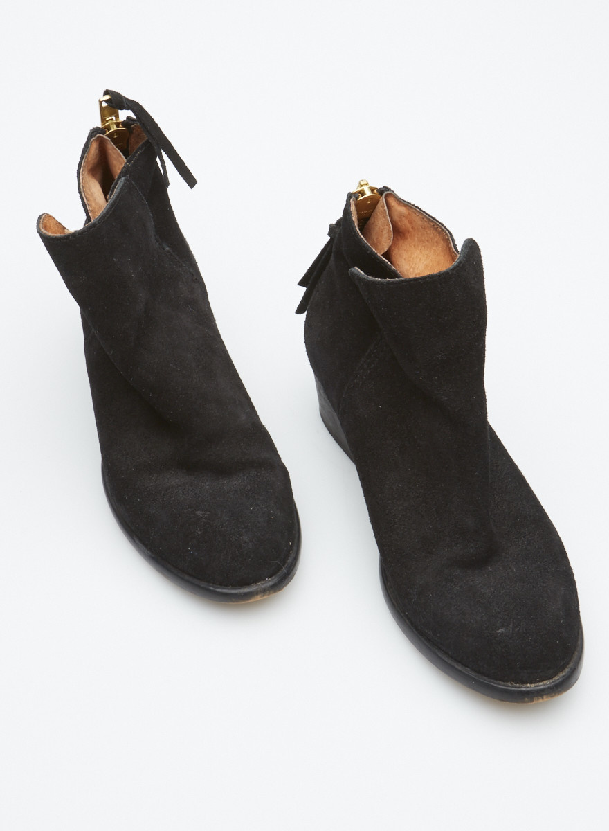 minelli Black Suede Booties