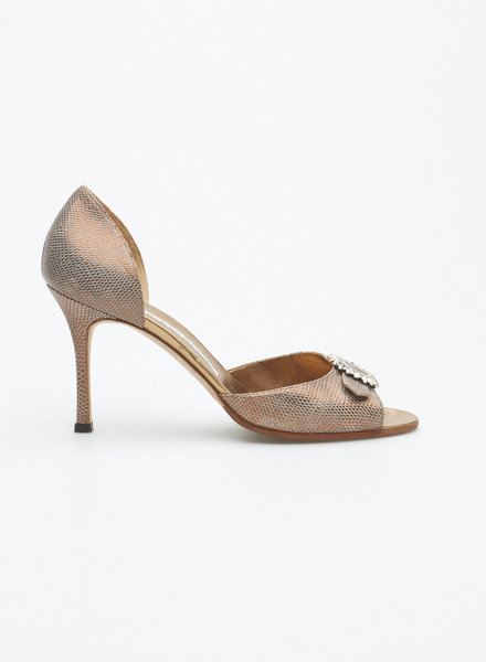 Manolo Blahnik BRONZE LEATHER SHOES WITH JEWELS