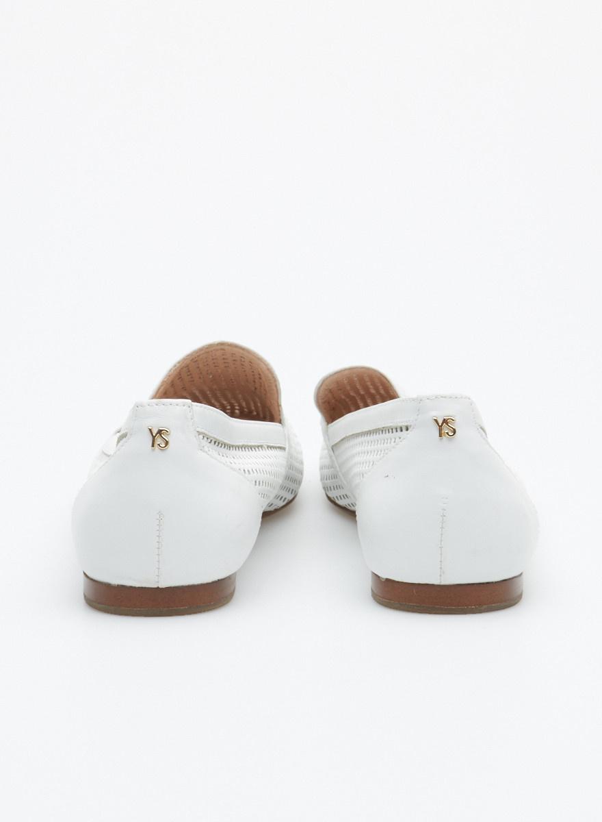 Yosi Samra Ballerines blanches en cuir perforé