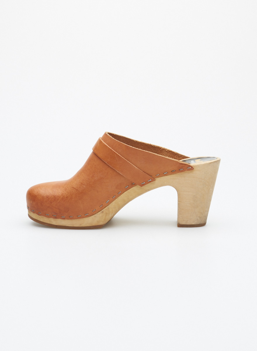 Swedish Hasbeens Brown Leather and Wooden Clogs