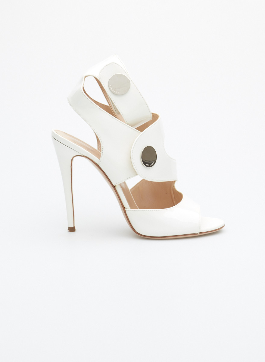 a4f6e35fd9 White High-Heeled Leather Sandals - Versace - DEUXIEME EDITION