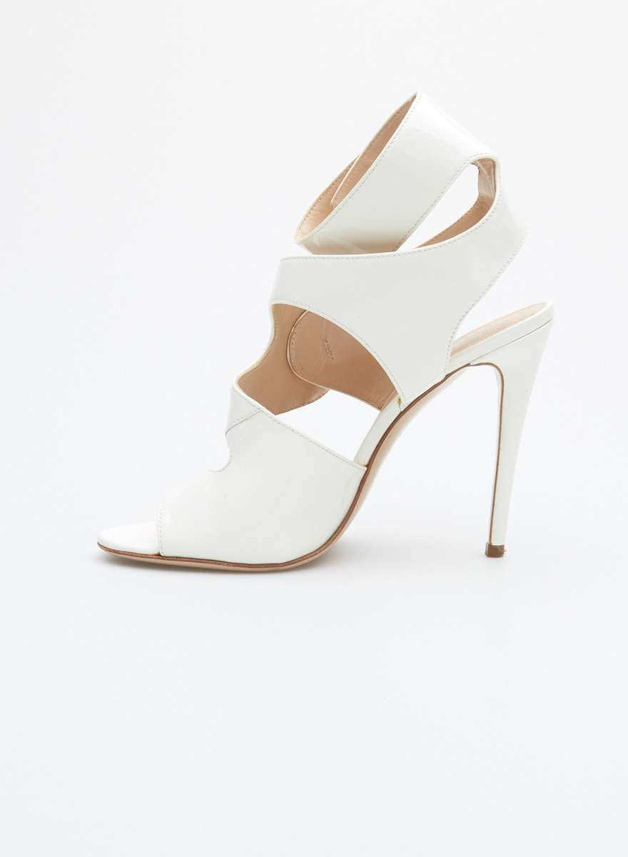 Versace On Sale - White High-Heeled Leather Sandals