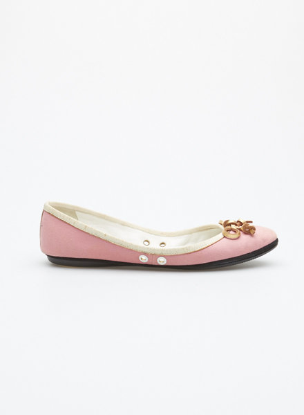 Yves Saint Laurent PINK LEATHER BALLERINAS WITH GOLDEN BOW