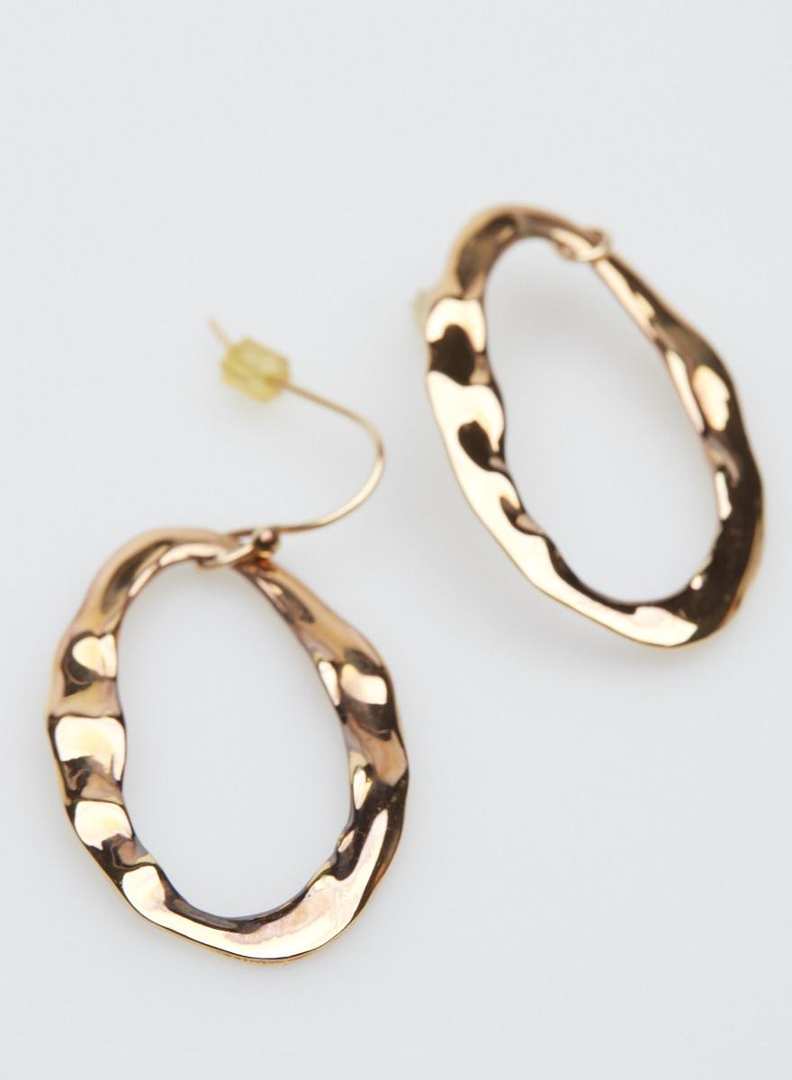 Alexis Bittar Crumpled Gold Oval Earrings