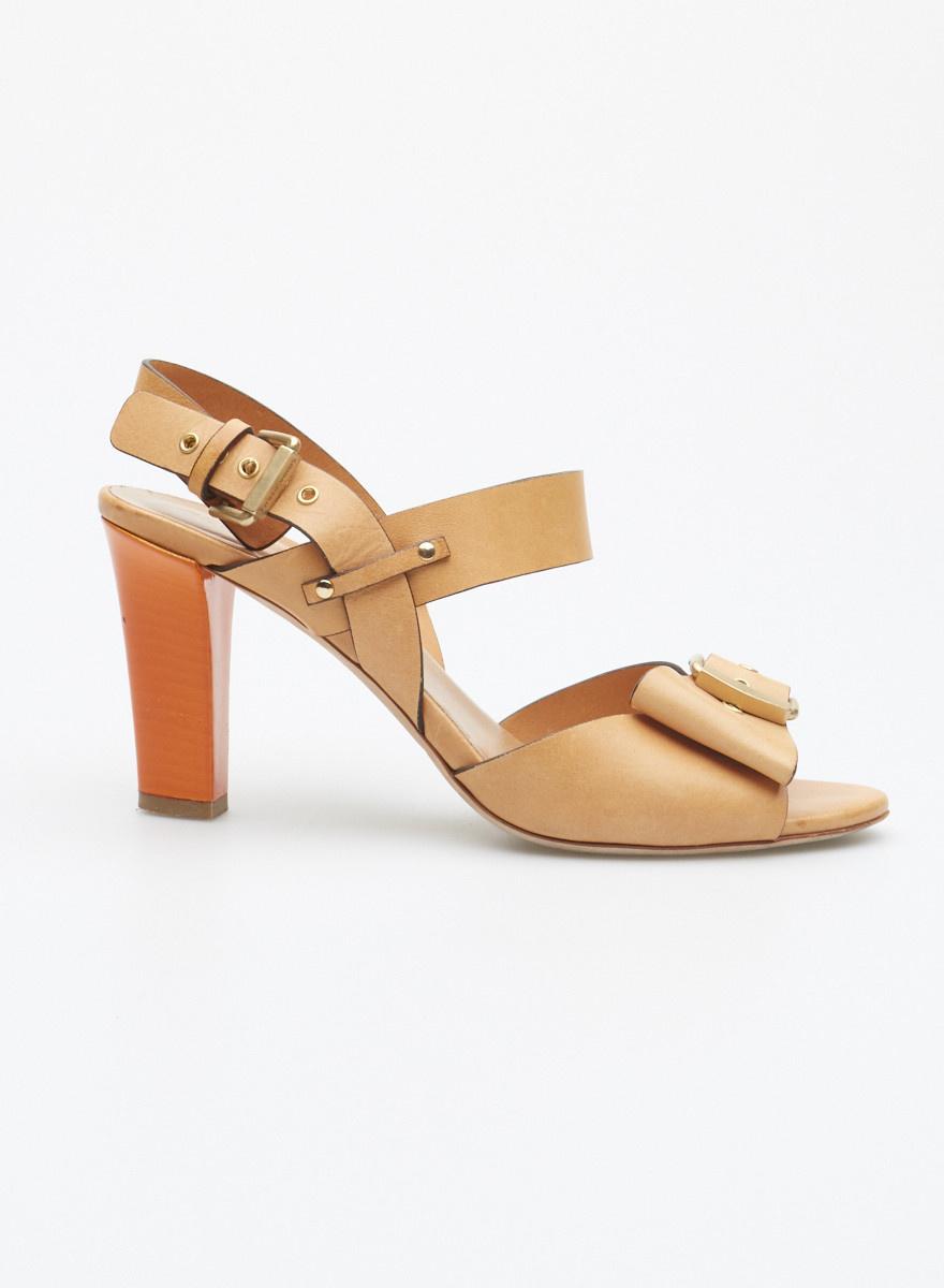 Sonia Rykiel Sandales marron pâle en cuir à talon orange