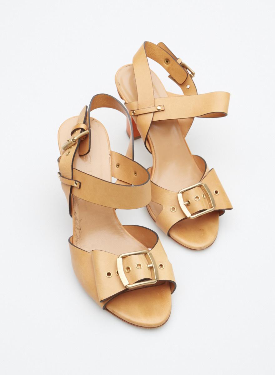 Sonia Rykiel Light Brown Leather Sandals with Orange Heels