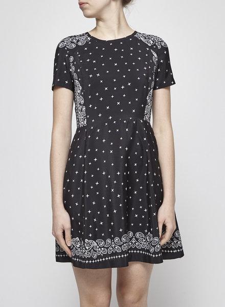 Claudie Pierlot BLACK PAISLEY-PRINT DRESS