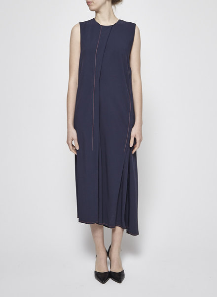 DKNY NAVY DRESS WITH ORANGE SEAMS - NEW (LARGE)