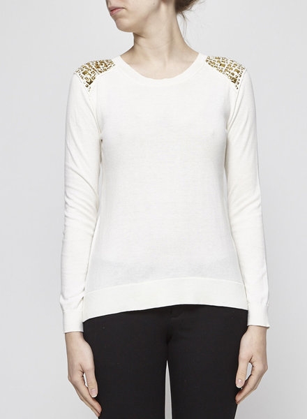 Michael Kors OFF WHITE TOP WITH GOLDEN DETAILS
