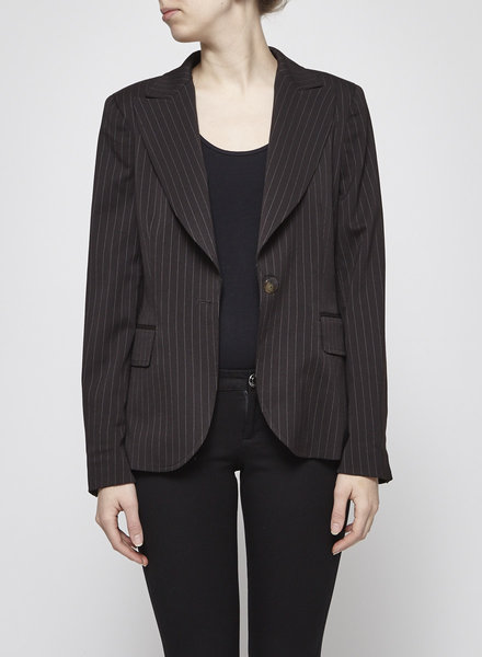 BROWN-BLACK BLAZER WITH FINE WHITE STRIPES