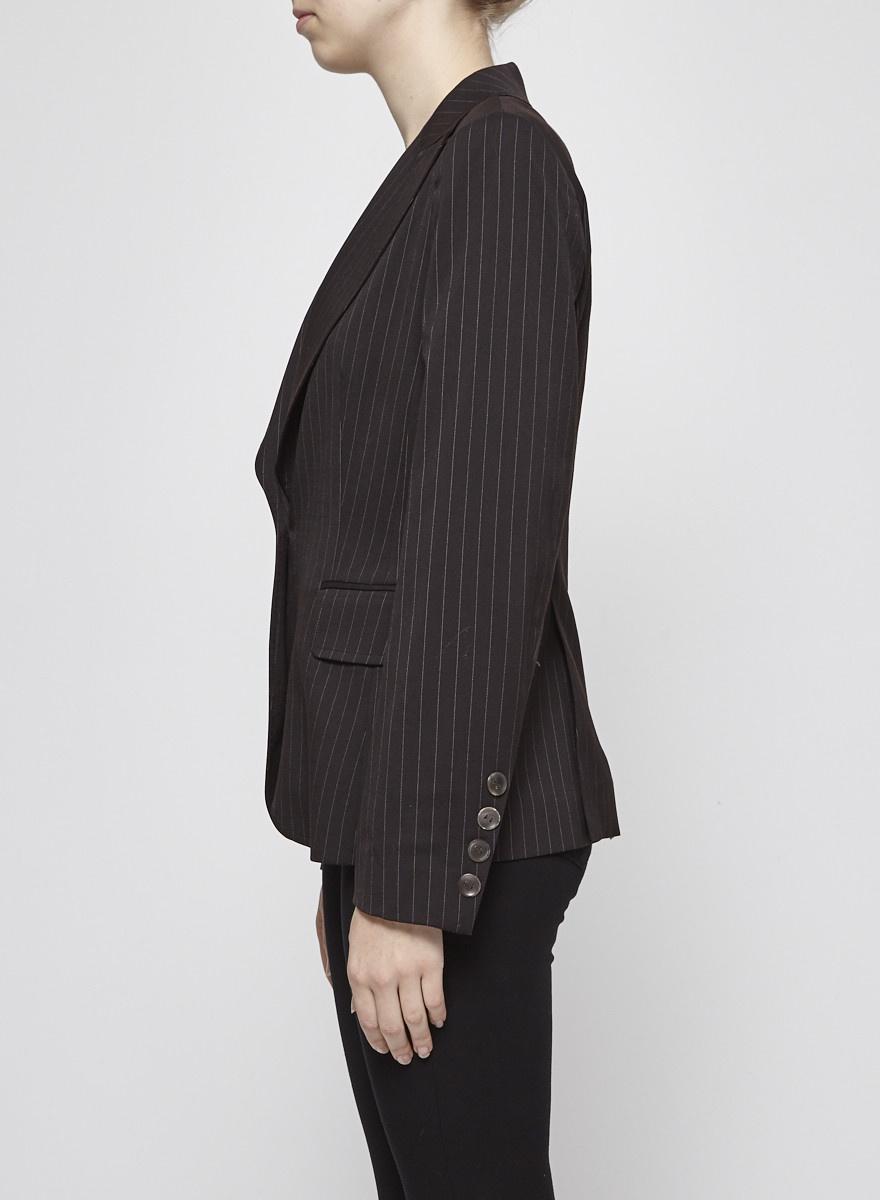 Brown-Black Blazer with Fine White Stripes