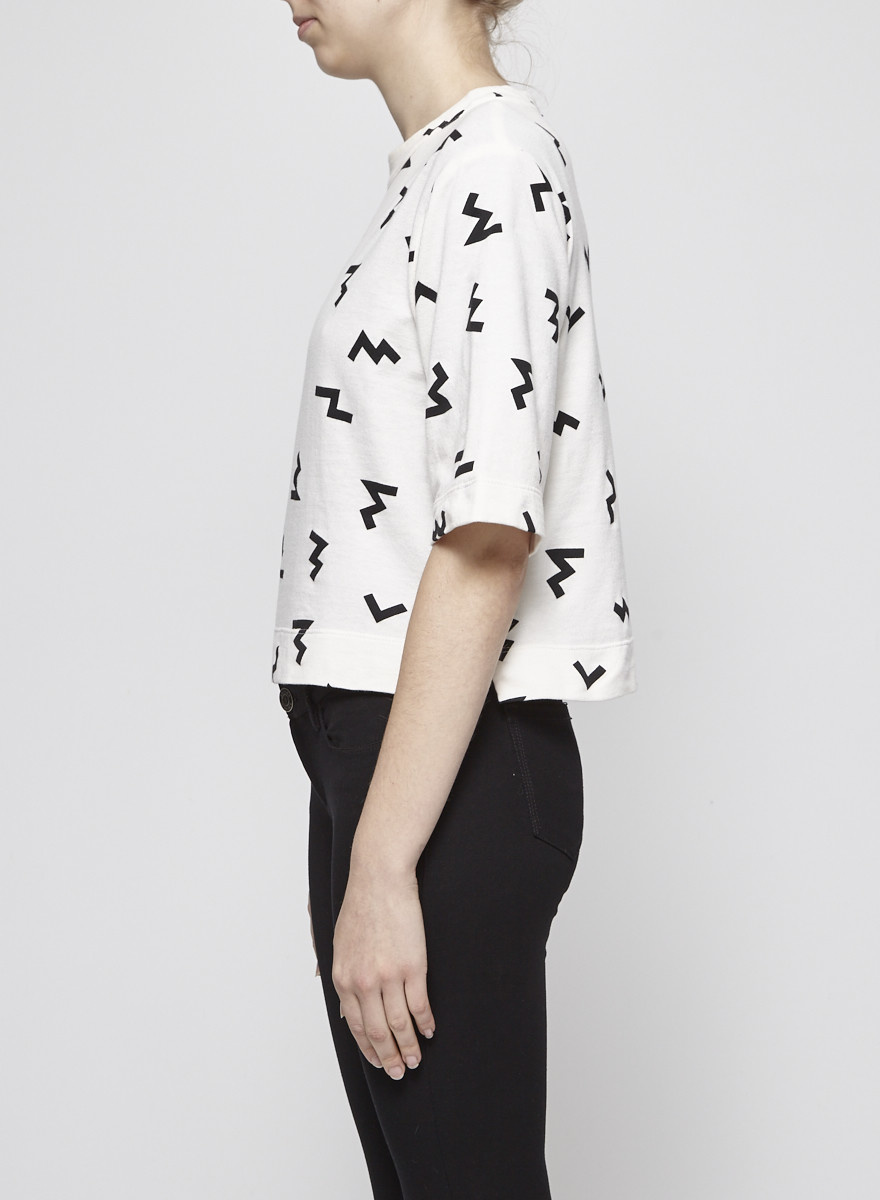 Odeyalo OFF WHITE CROP TOP WITH BLACK PRINTS