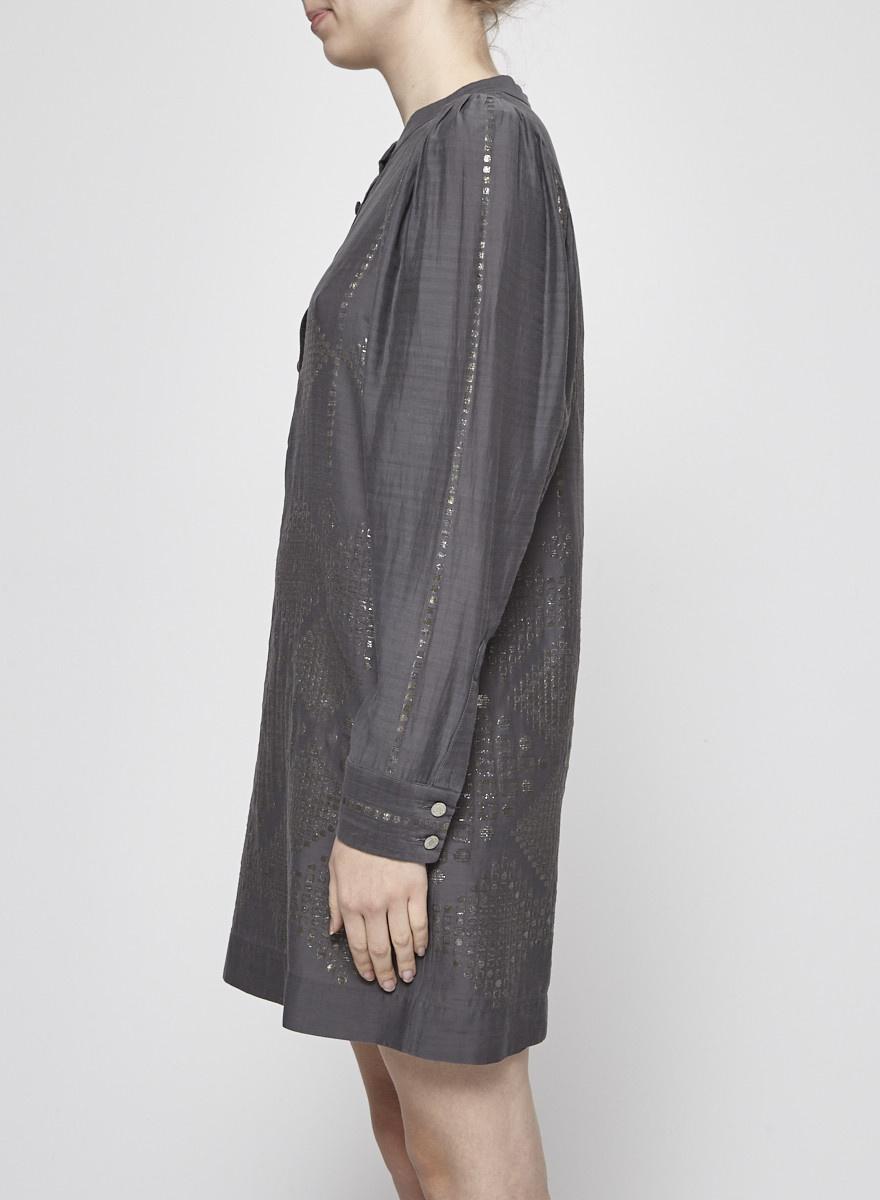 Stella McCartney Robe grise à motifs géométriques dorés