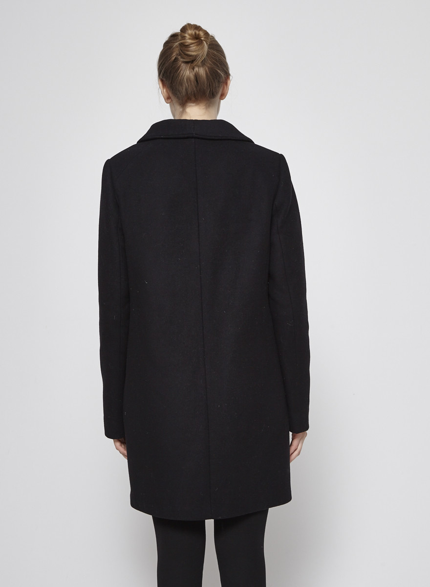 Wilfred Black Wool and Cashmere Coat