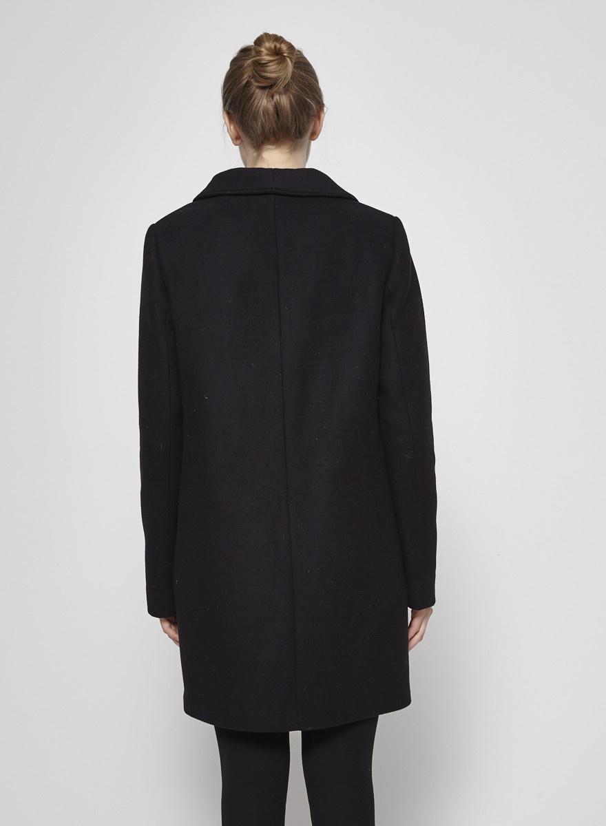 Wilfred Manteau noir en laine et cachemire