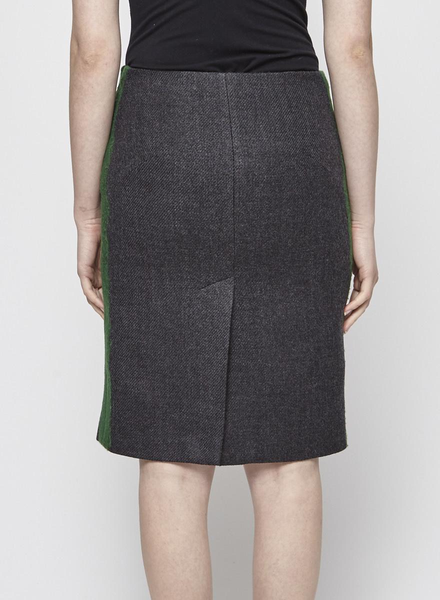 Prada Jupe droite en laine grise à bandes vertes