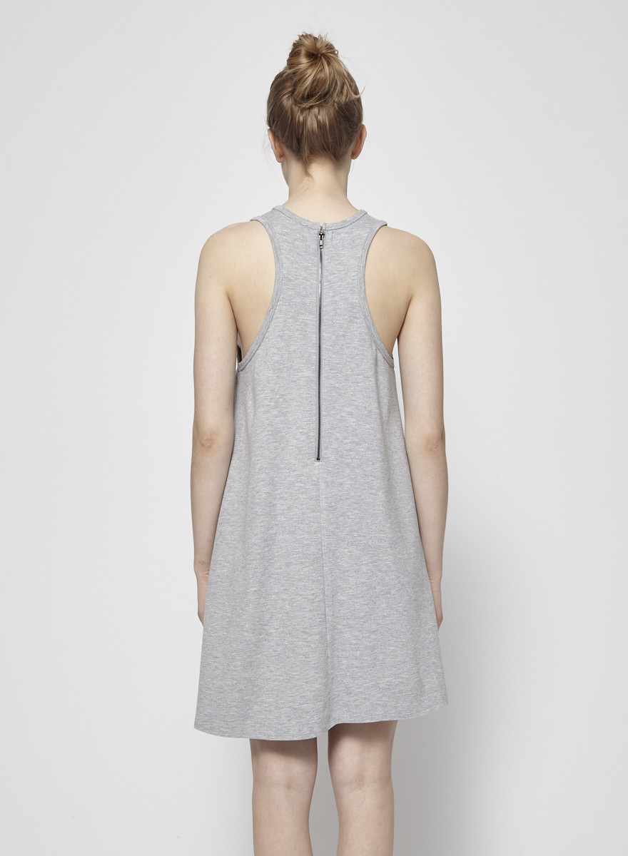 Press Dress Robe grise à encolure américaine