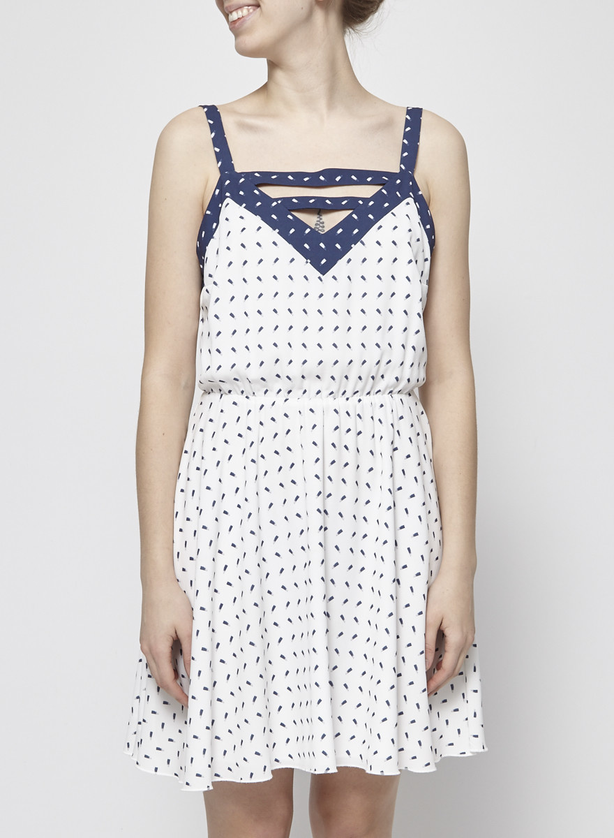 Eve Gravel White and Blue Strappy Dress with Elastic Waistband