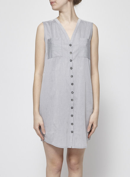 Josiane Perron GREY SLEEVELESS BUTTON-FRONT DRESS