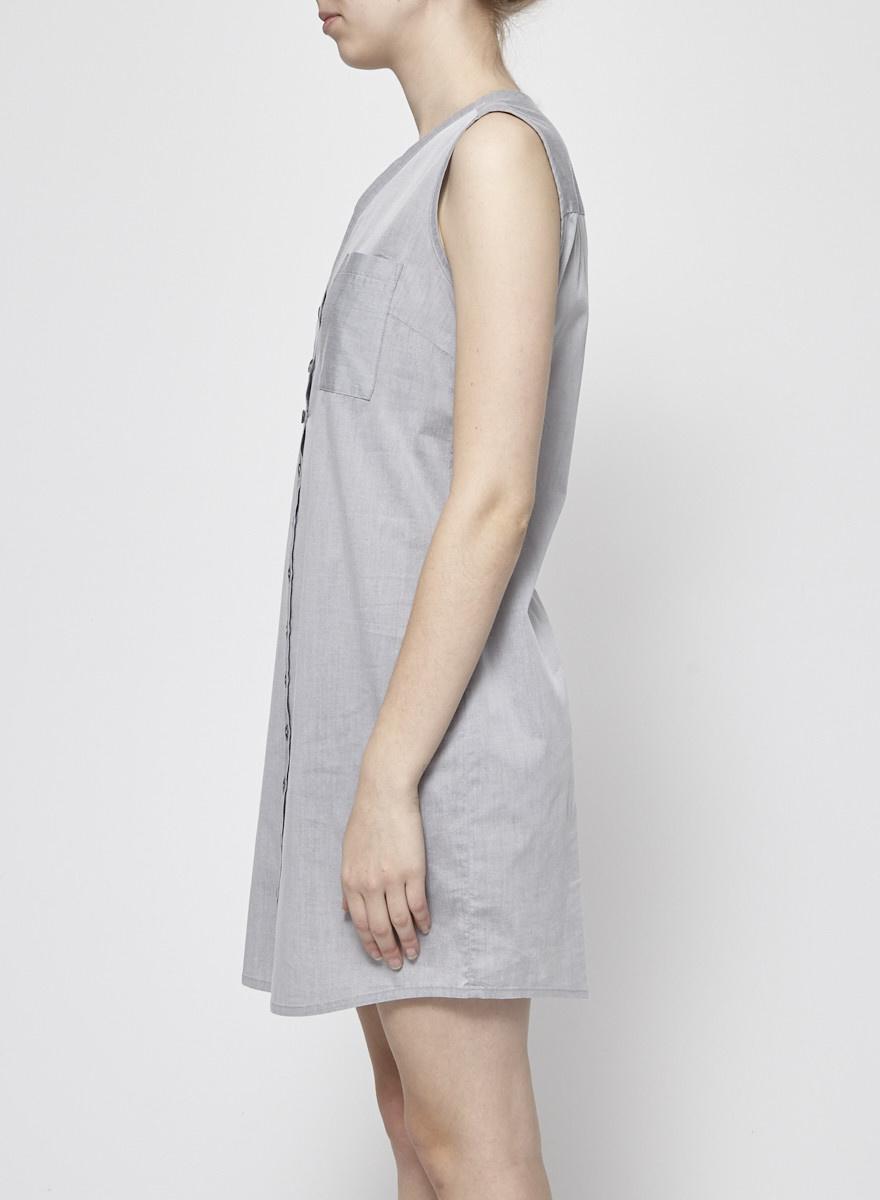 Josiane Perron Grey Sleeveless Button-Front Dress