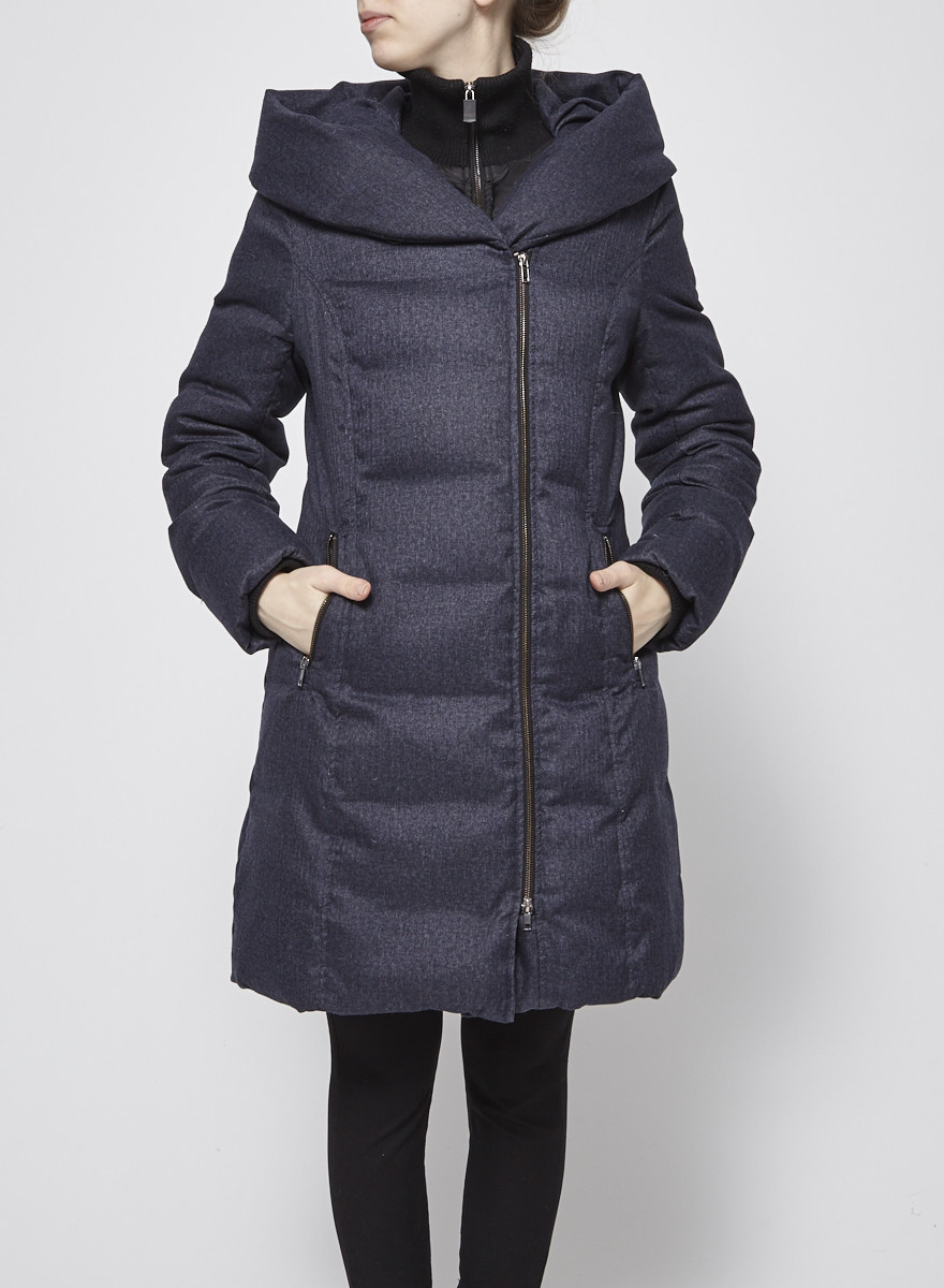 Soia & Kyo Manteau gris et noir en duvet à capuche