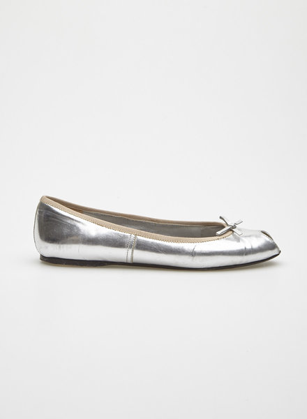 Prada SILVER LEATHER BALLERINAS WITH SMALL BOW