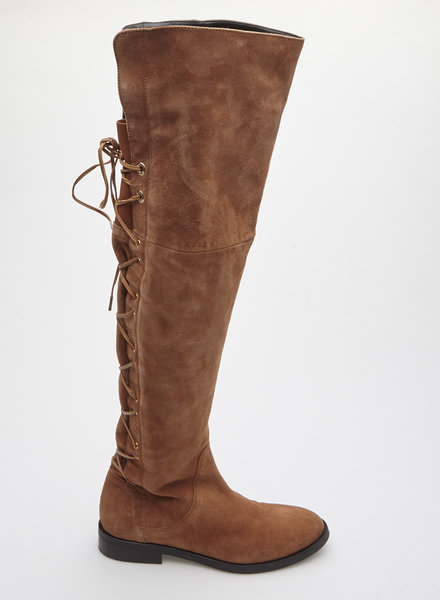 Marc Cain OVER THE KNEE BROWN SUEDE BOOTS - NEW