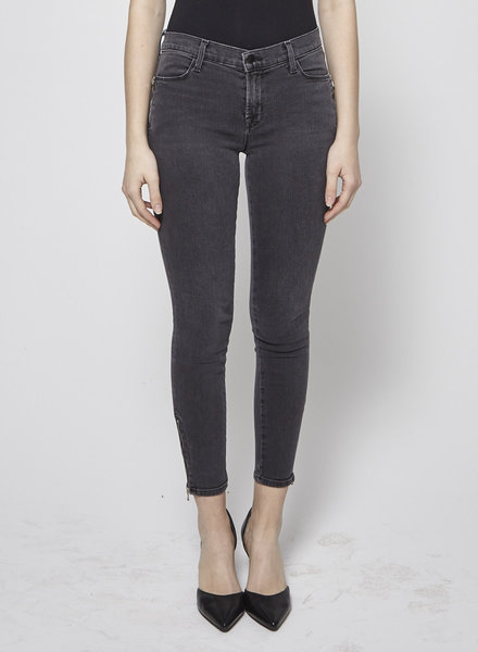 J Brand ZIP-DETAILED GREY SKINNY JEANS