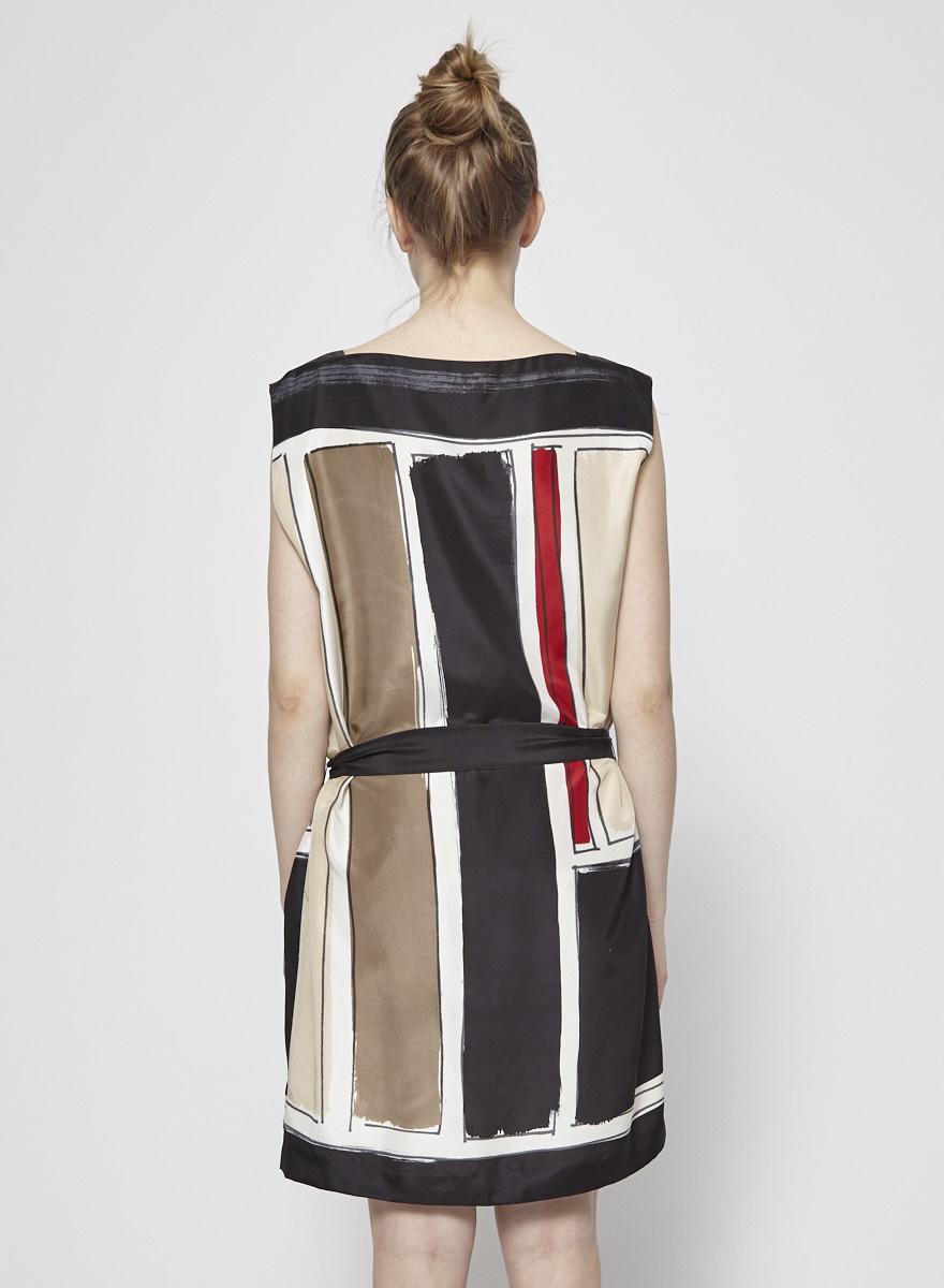 Theory Robe en soie  beige, noir et rouge cintrée