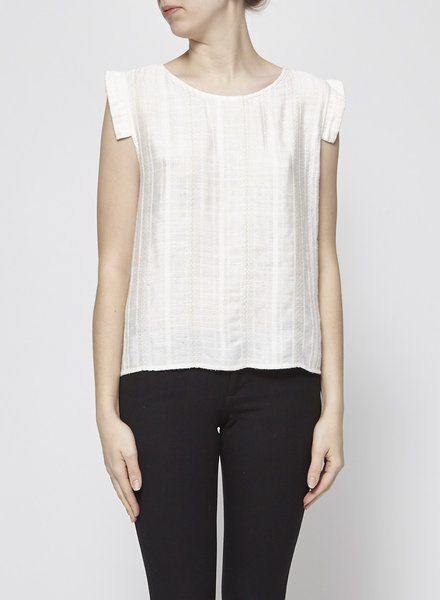 Eve Gravel OFF-WHITE COTTON AND SILK TOP WITH METALLIC THREADS