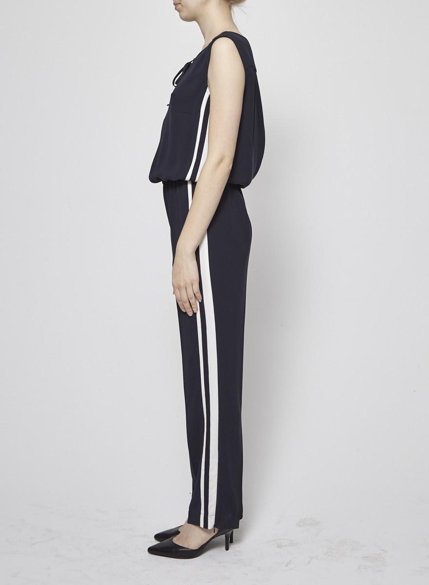 Luisa Cerano Combi-pantalon marine à bandes blanches