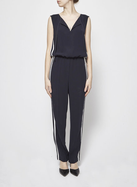 Luisa Cerano NAVY JUMPSUIT WITH WHITE STRIPES