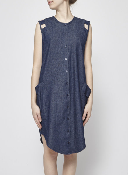 Eve Gravel DARK BLUE DRESS WITH XXL POCKETS