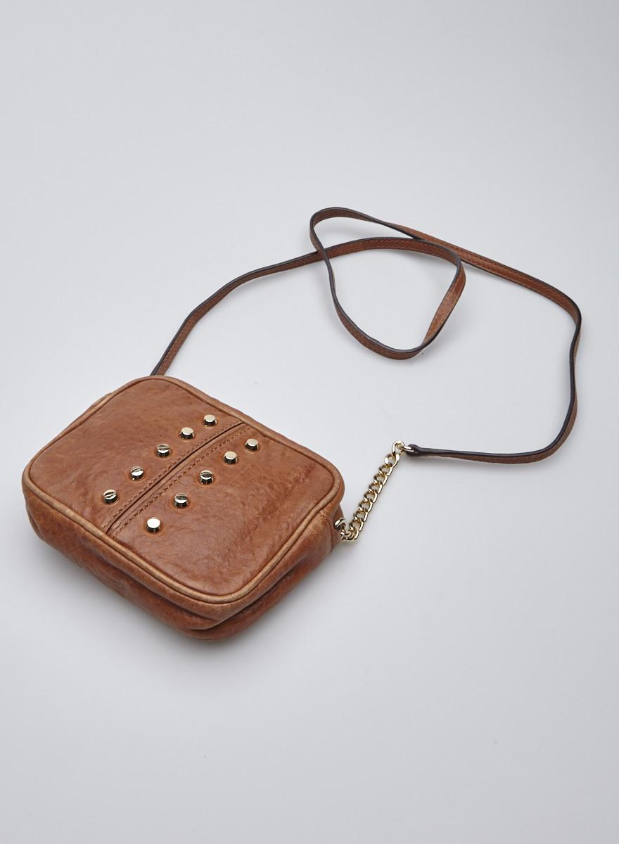 Michael Kors Petit sac à main en cuir marron clouté