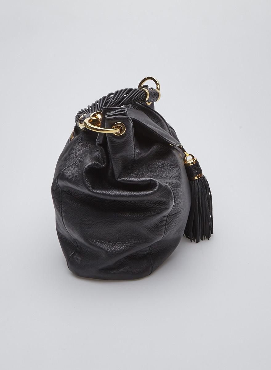 Michael Kors Black Leather Shoulder Bag with Tassel and Gold Details