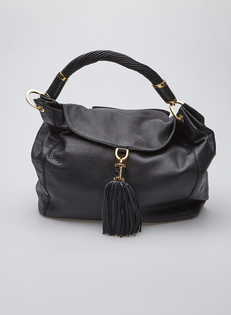 347cc5402aac Michael Kors Black Leather Shoulder Bag with Tassel and Gold Details ...