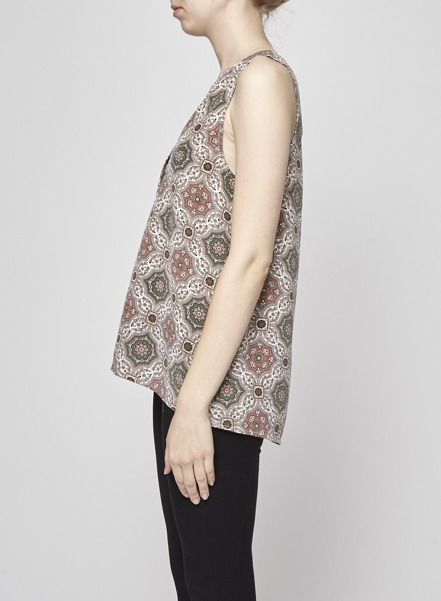 Joie Sleeveless Printed Silk Blouse