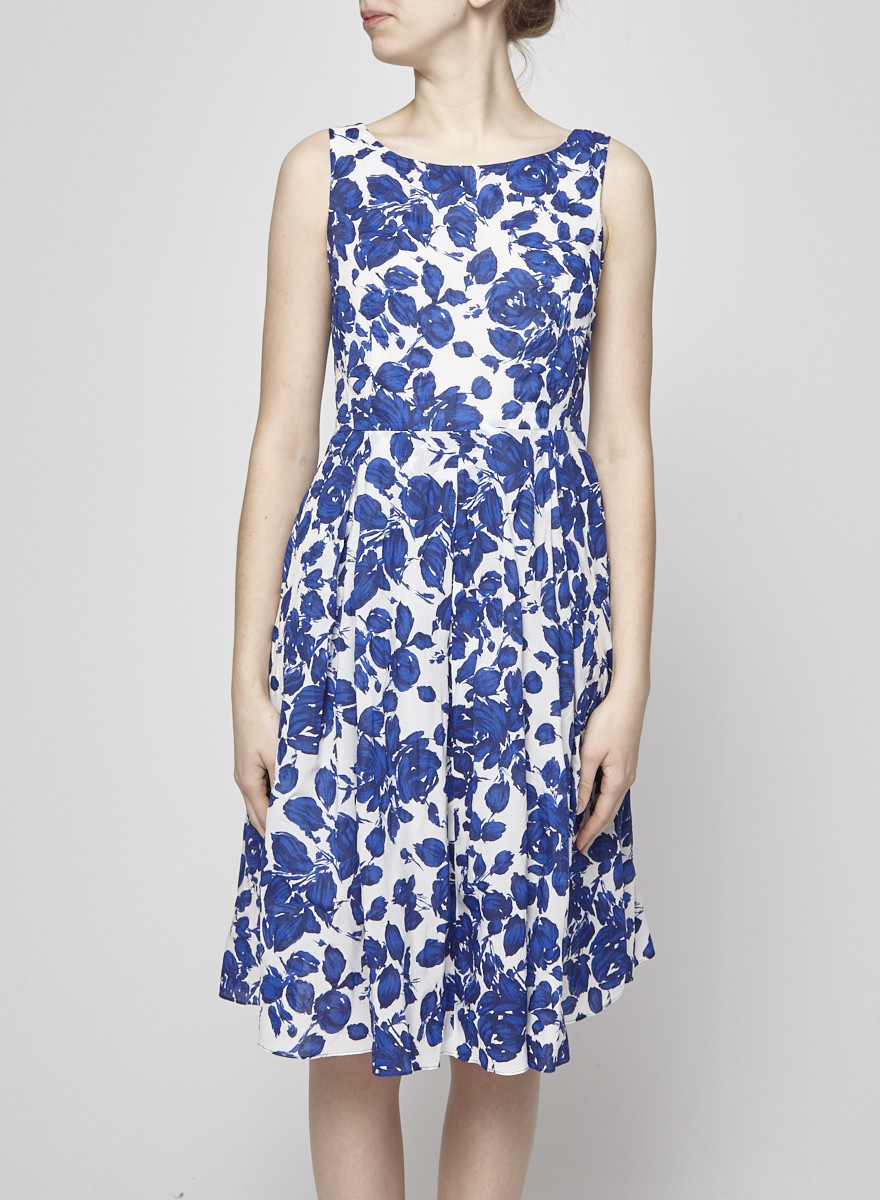 02606aba206 Blue and White Floral Cotton Dress - WEEKEND MAX MARA - DEUXIEME ...