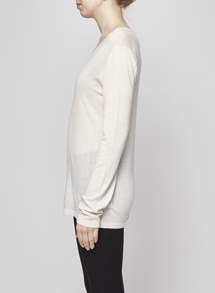 Ça Va De Soi Ivory White Fine Wool Sweater