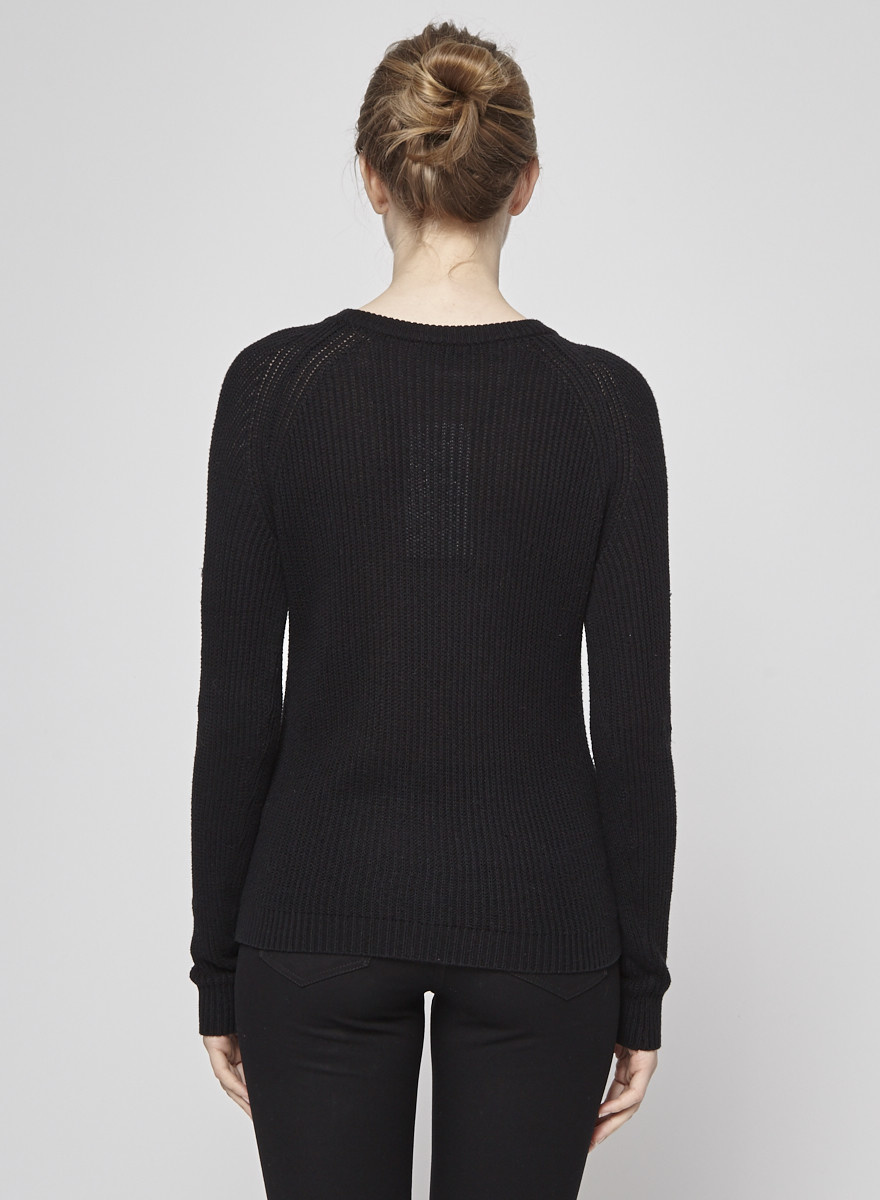 Ça Va De Soi Black Cotton and Cashmere Knitted Sweater