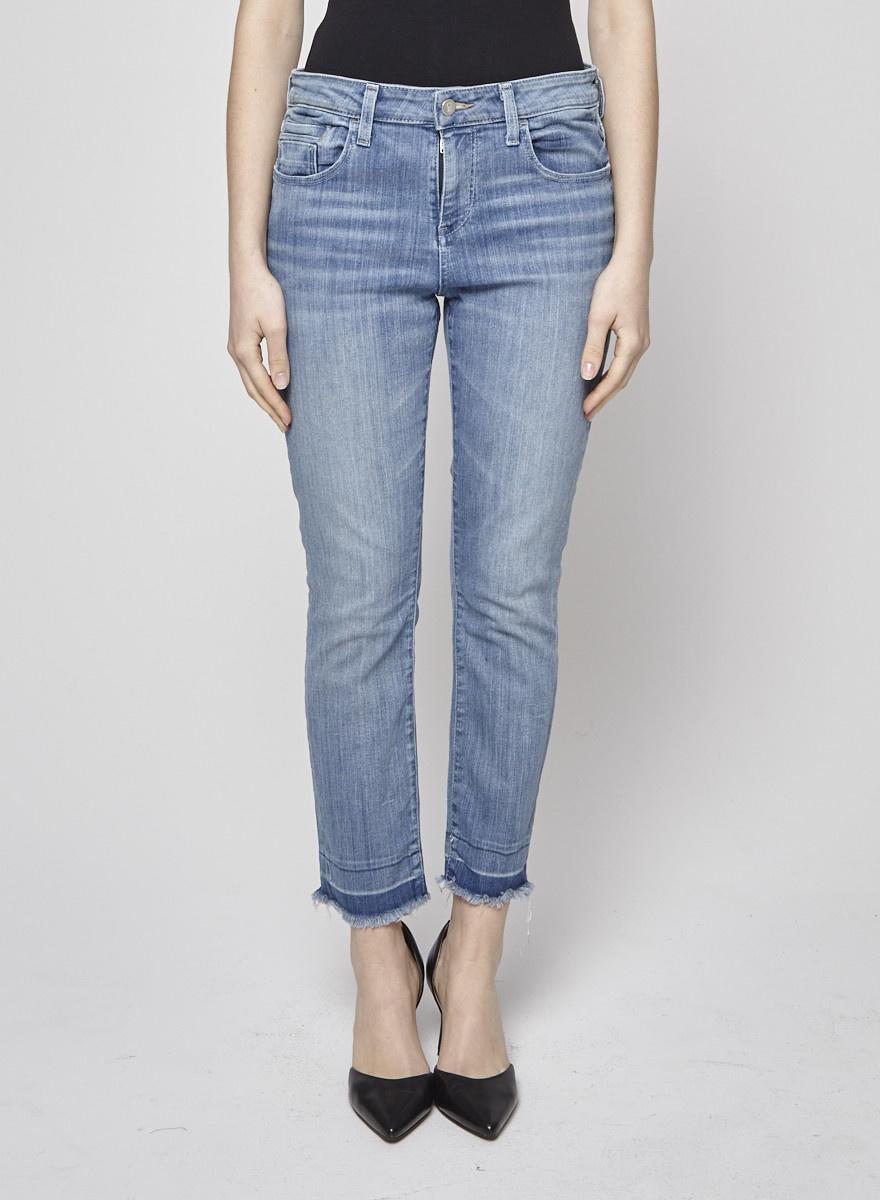 Pilcro Light-Blue Raw Hem Jeans