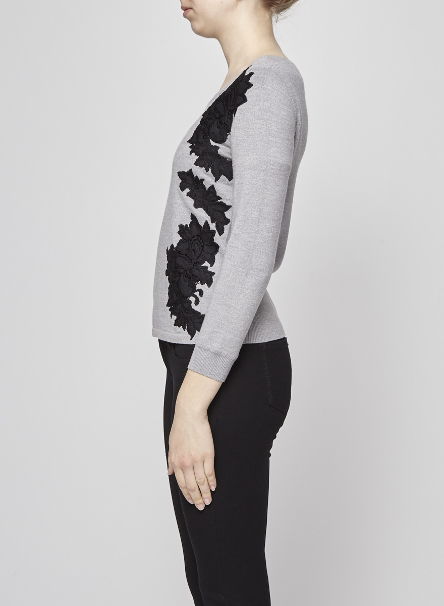 Diane von Furstenberg Pull gris à broderies de fleurs noires