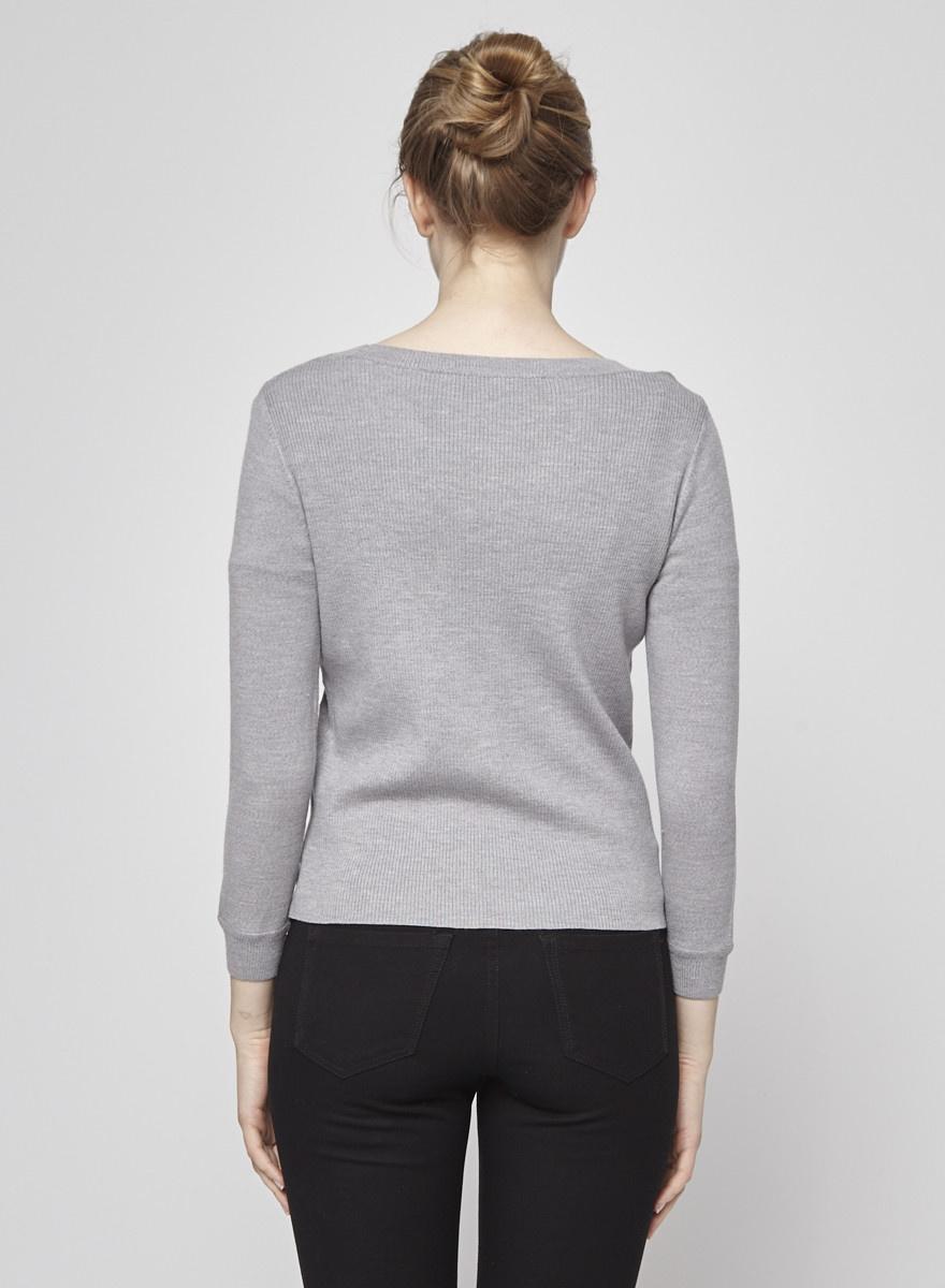 Diane von Furstenberg Gray Sweater with Black Embroidered Flowers