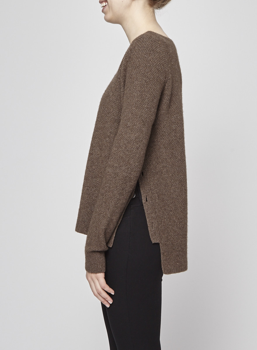 Vince Brown Sweater with Buttons on the Side