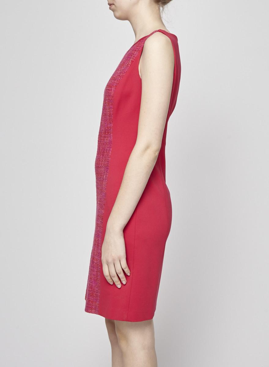 Elie Tahari Robe en tweed rose et orange