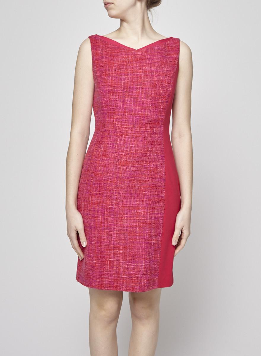 Elie Tahari Pink and Orange Tweed Dress